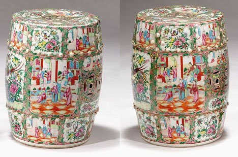 2600: Pair of pierced Chinese Famille Rose garden seats