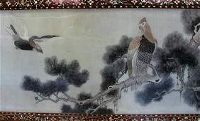 2604 Chinese embroidered silk panel  Depicting two e