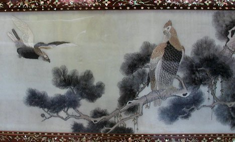 2604: Chinese embroidered silk panel, , Depicting two e