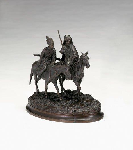 2757: Russian bronze group, cossacks on horseback, Dark