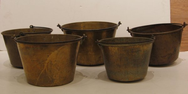 9: Five brass and iron buckets and a copper kettle, som