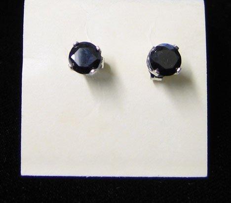 1001: Pair of Black Diamond Stud Earrings, , Set in whi