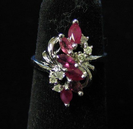 1005: 14k White Gold, Ruby and Diamond Ring, , The styl