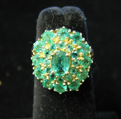 1007: 14K Yellow Gold and Emerald Cluster Ring, , The r