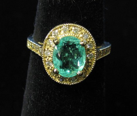 1008: 14K Yellow Gold, Emerald and Diamond Ring, , The