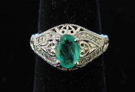 1009: 14K White Gold , Emerald and Diamond Ring, , With