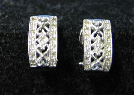 1012: A Pair 14K White Gold and Diamond Earrings, , The