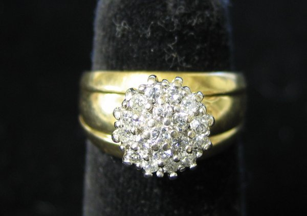 1014: 14k Yellow Gold and Diamond Cluster Ring, , With