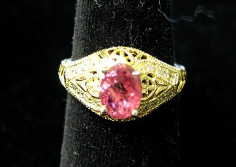 1015: 14K Yellow Gold Pink Sapphire and Diamond Ring, ,