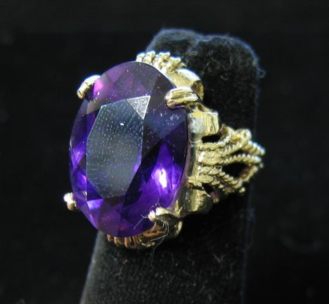 1019: 14K White Gold and Oval Amethyst Ring, , With the