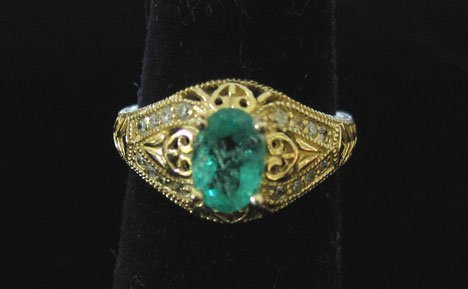 1023: 14k Yellow Gold, Emerald and Diamond Ring, , The