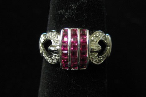 1024: 14K White Gold, Ruby and Diamond Ring (4213-145),