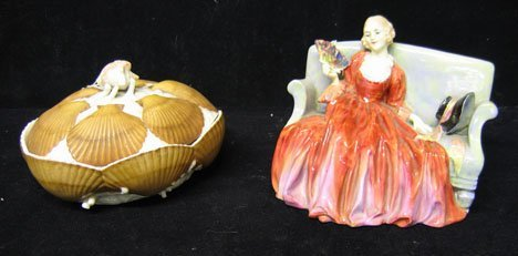 1173: A Royal Doulton Figure and Belleek Covered Box, ,