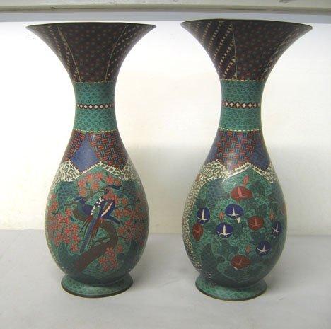 1257: Pair of Chinese cloisonne trumpet vases, , Decora