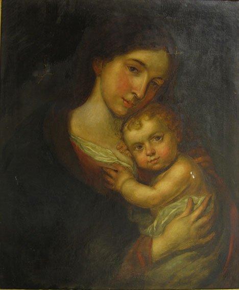 2411: J. SANT - VIRGIN AND CHILD, continental school, e