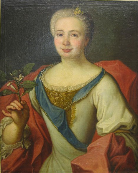 2412: CONTINENTAL SCHOOL, 18TH C. - WOMAN WITH FLOWER,