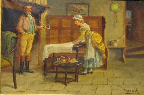 """2419: A. AUSTEN - LUNCH TIME, , Signed  A. Austen"""" bott"""