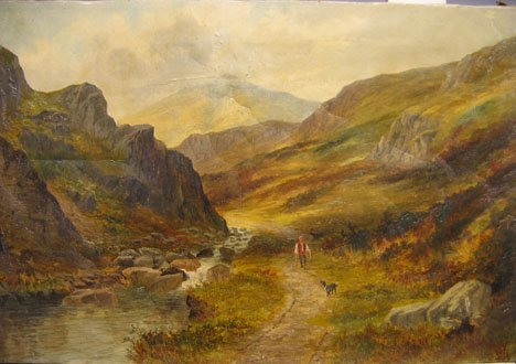 2421: HENRY W. HENLEY (BRITISH) LANDSCAPE WITH MOUNTAIN