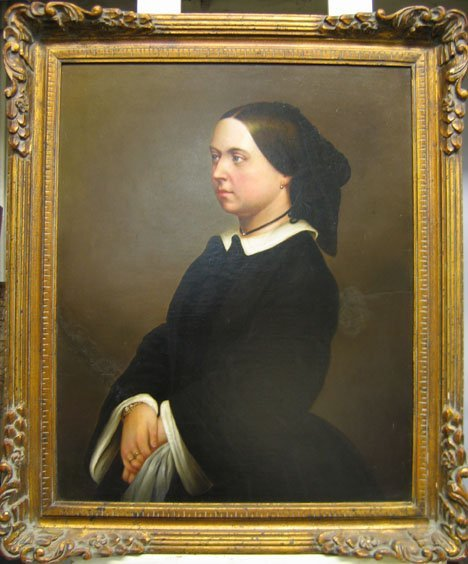 2425: PORTRAIT OF A WOMAN, , Oil print on paper mounted