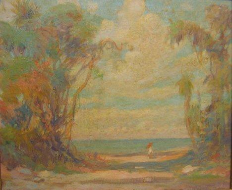 2427: WALK ON THE BEACH, , Oil on canvas 20 x 24 in.