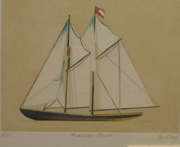 """2428: G. CLAY - TWO BOATS TITLED: HOME-WARD BOUND"""" AND"""