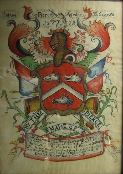 """2429: ARMORIAL CREST OF JOSHUA PIERCE, , Signed Remich"""""""