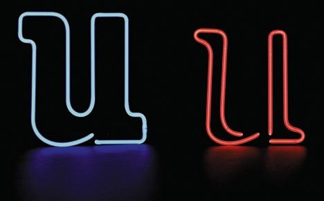 2: Neon lowercase letter 'u', , Unmounted blue neon tub
