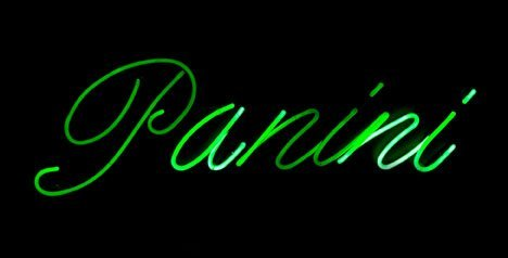 19: Panini neon sign, , Mounted within a black enameled