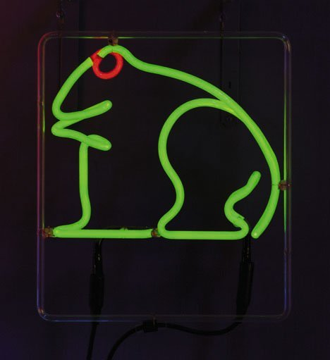 24: Neon Frog, , Unmounted neon tubing, the olive green