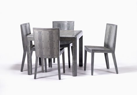 343: Karl Springer table and four chairs, , Covered in