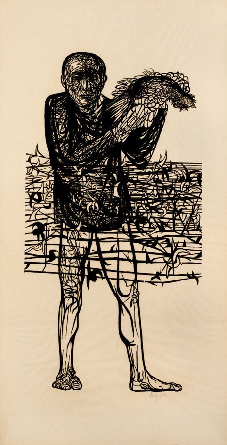 1022: LEONARD BASKIN, (AMERICAN 1922-2000), MAN OF PEAC