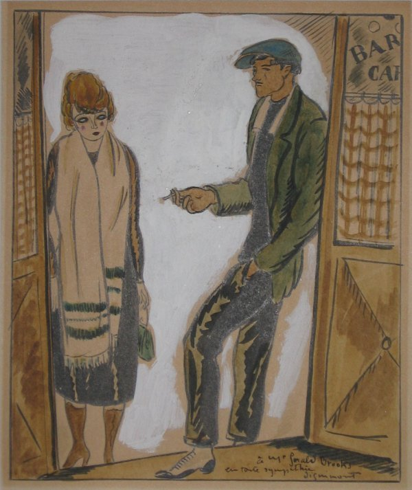 8: ANDRE DIGNIMONT, (FRENCH, 1891-1965), COUPLE IN DOOR