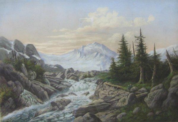 9: LOUIS GRUBE, (AMERICAN, 1812-1902), RUSHING RIVER