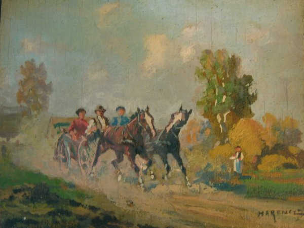 23: JOSZEF HARENCZ, (HUNGARIAN, 1899-1969), ON THE ROAD