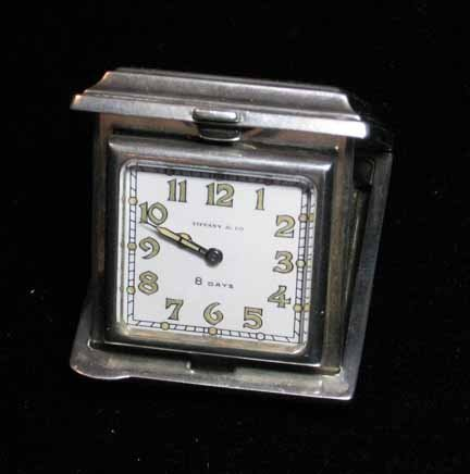 1003: Sterling silver travel clock sold by Tiffany, 20t
