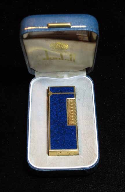 1011: Dunhill gold filled & lapis panel cigarette light