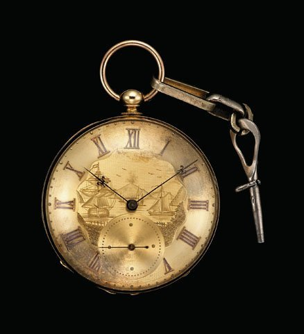 1185: Yellow gold key wind open face pocket watch, f. t