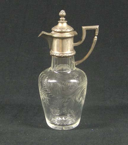 3010: French cut glass and silver mounted vinegar or oi