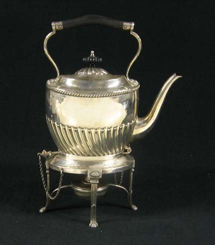 3015: Victorian sterling silver kettle on stand, samuel