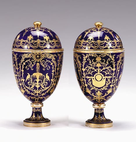 3357: Pair of Sèvres style covered urns, 19th century,