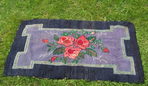 "2: Rose Centered Hooked Rug 59"" Long x 35"" Wide, Frayin"