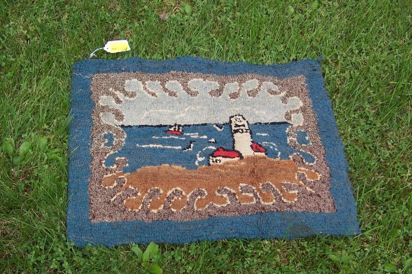 "3: Lighthouse Hooked Rug, 27"" x 22"" Frayed Edges"
