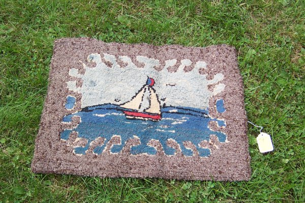 "4: Sailboat Hooked Rug, 26"" x 21"" Frayed Edges"