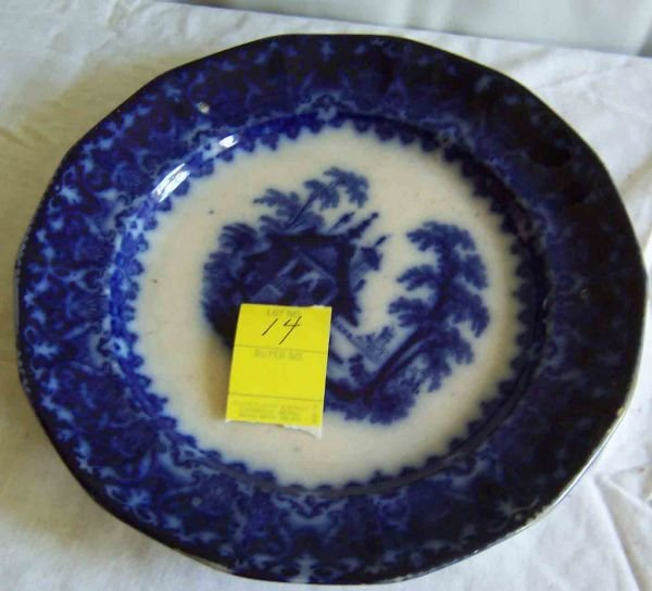 14: Arabesque, Blue & White Chinese Porcelain Plate Mar