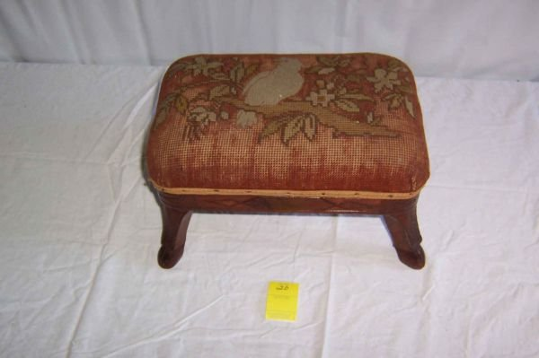 20: Deer Footed Footstool, East Lake Style, Worn Parrot