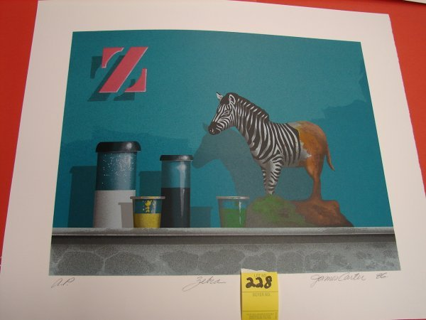 228: James Carter '86 colored lithograph, artist proof,