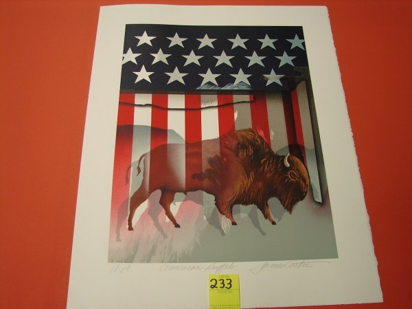 "233: James Carter, colored lithograph, artist proof, ""A"