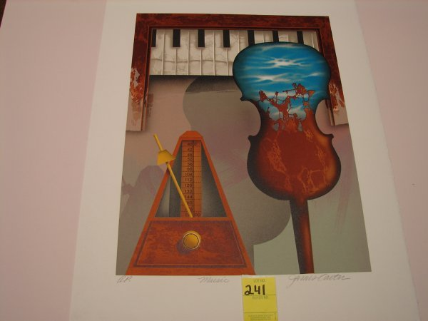 "241: James Carter, colored lithograph, artist proof, ""M"