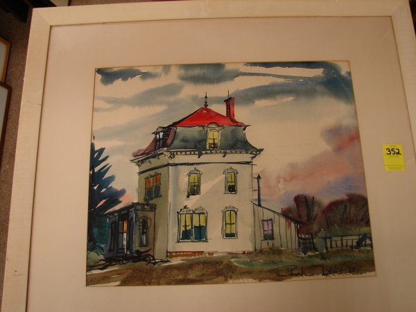 352: Richard C. Lewis, watercolor of house, signed lowe