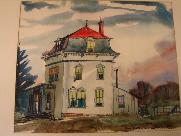 352: Richard C. Lewis, watercolor of house, signed lowe - 2